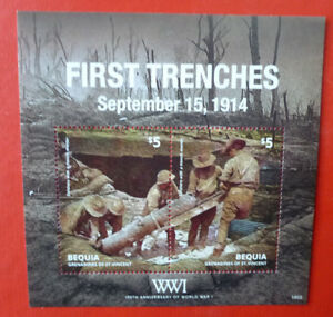 2014-St-VINCENT-100th-ANNIV-WWI-FIRST-TRENCHES-BEQUIA-STAMP-MINI-SHEET