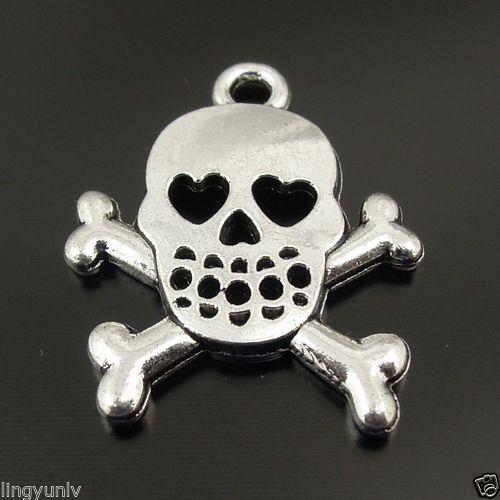 40PCS Vintage Silver Tone Zinc Alloy Skull Charms Pendant Jewelry 21*21*2mm