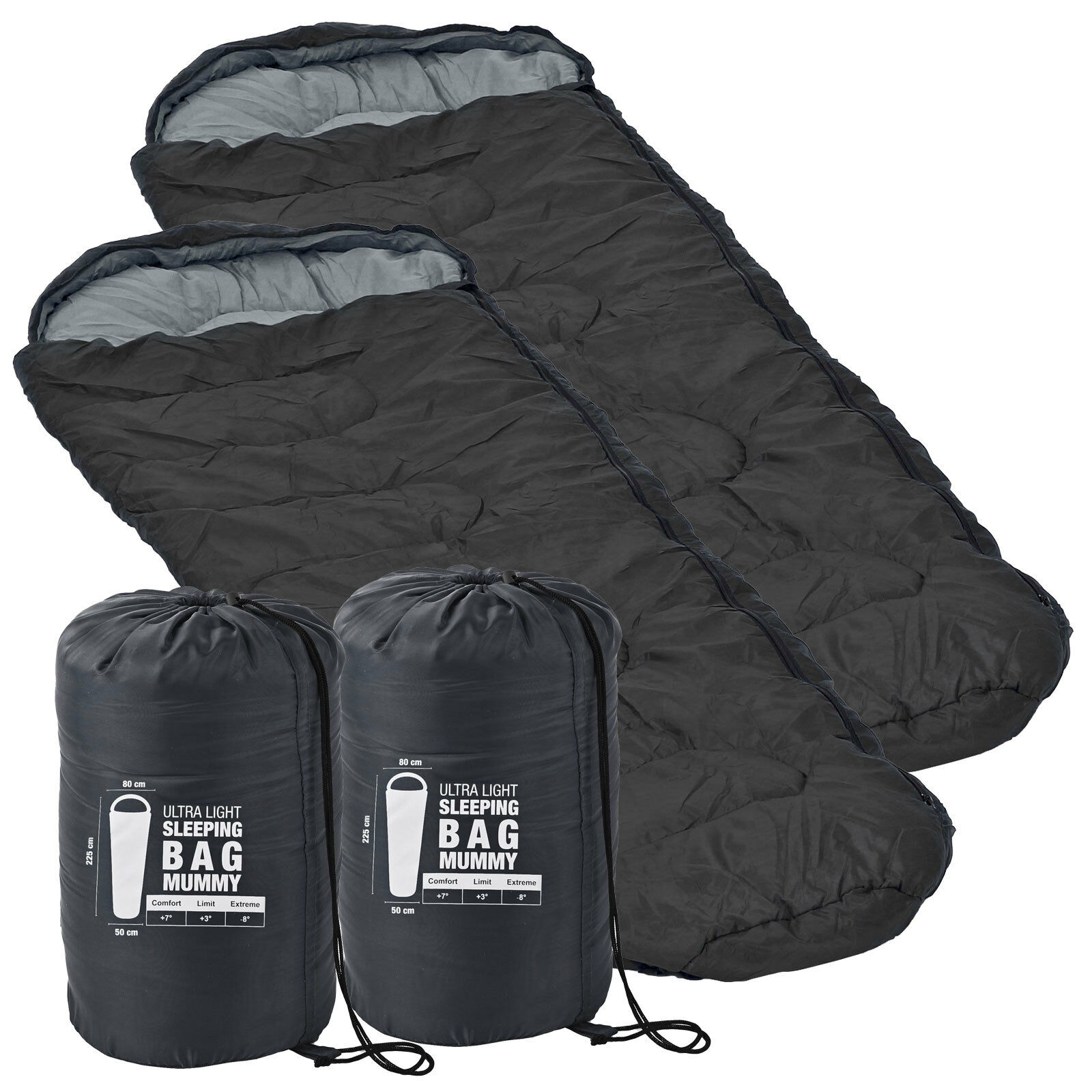 2x Ultra  Light Sleeping Bag Grey 225 x 80 x 50 minus 8 ° C NEW & OVP  hot