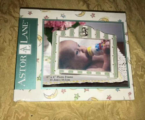 New Astor Lane Picture Frame 6 X 4 Photo Green Silvertone Duck Baby