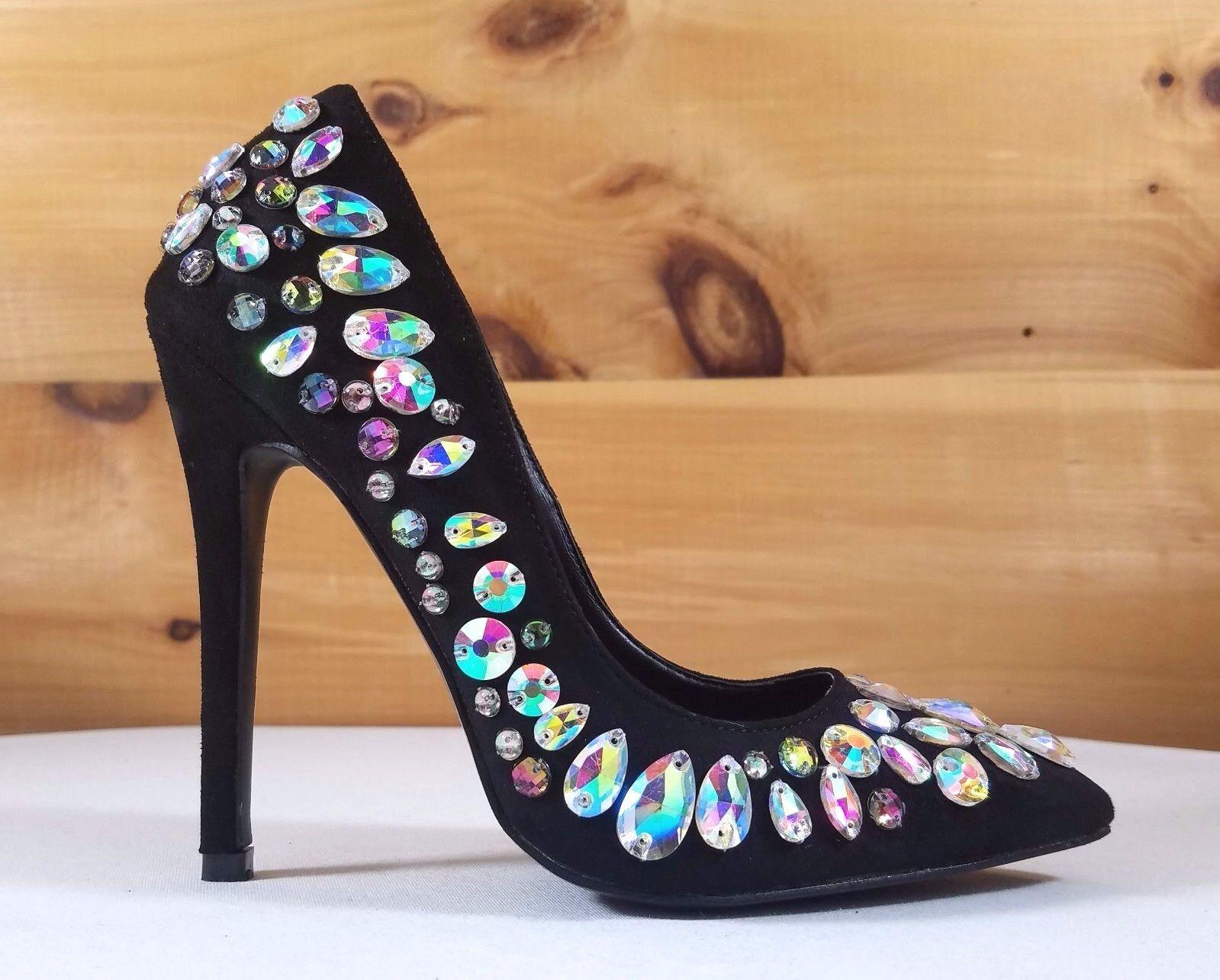 So Me Black Multi Color Jewels Pointy Toe Stiletto Pumps - 4.5