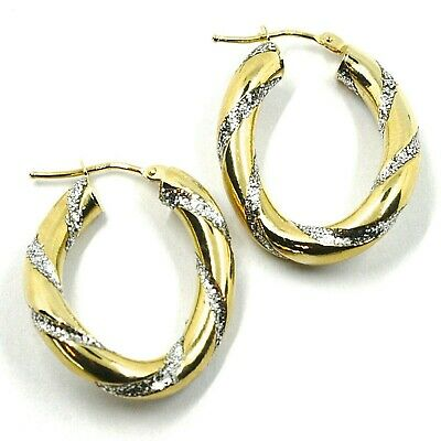 18K YELLOW GOLD CIRCLE HOOPS DOUBLE TUBE TWISTED EARRINGS 22 MM x 3.5 MM ITALY