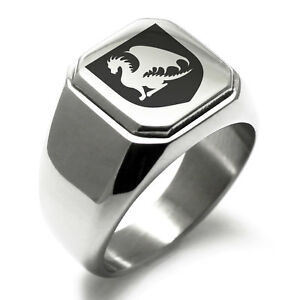 Stainless-Steel-Guardian-Coat-of-Arms-Shield-Mens-Square-Biker-Style-Signet-Ring