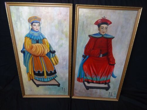 Pair-Large-Signed-Oil-On-Board-Gilt-Framed-Paintings-Of-A-Lady-Gentleman-Samurai