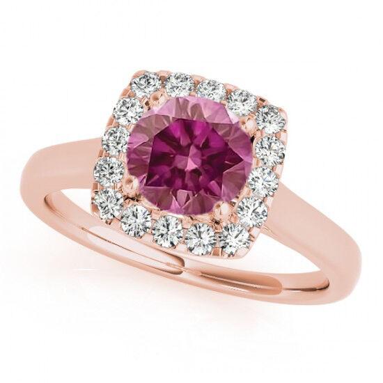 0.82 Ct Pink Purple HPHT Diamond Solitaire Ring 14k RG Valentineday Spl. Sale