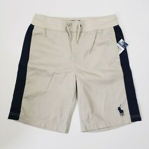 New-with-tag-NWT-Boys-RALPH-LAUREN-Beige-Navy-Blue-POLO-Casual-Shorts-S-Big-Pony