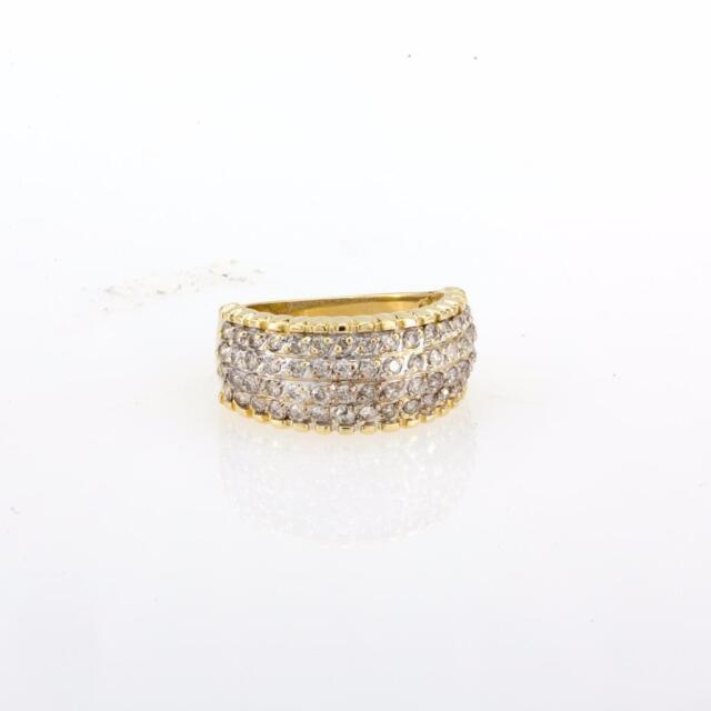 14K Yellow Gold Diamond Ladies Cocktail Ring in 1.50 CTW Round Diamonds Size 7