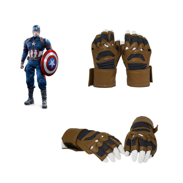 Xcoser Captain America Costume Gloves Cosplay Props Fingerless Claw  Halloween