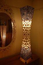 Lámpara Estándar De Pie Con Anillos De Bambú Natural y Shell-Blanco - 100cm