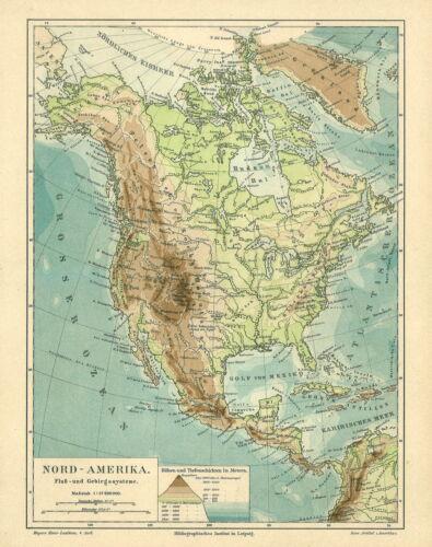Fluß- und Gebirgssysteme Alte Landkarte 1890: Nord-Amerika Flüsse Gebirge M4
