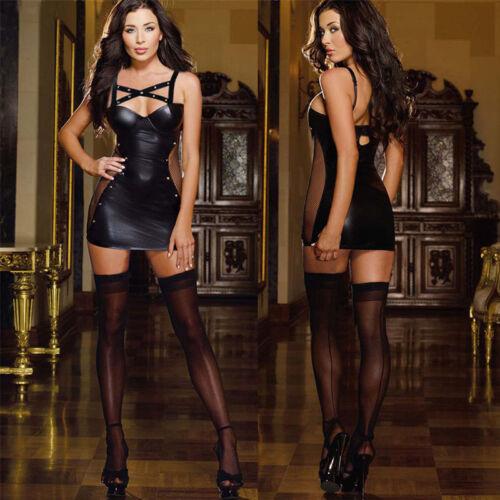 Lack Minikleid Clubwear Kleid Bodysuit Abendkleid Partykleid Wetlook /&1*T-back