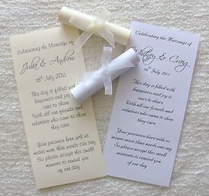 50 personalised wedding favour thank you scrolls with ribbon ebay