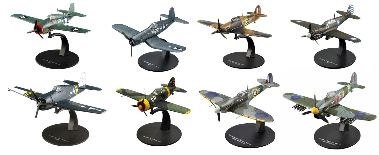Lot of 8 aeroplanes raf and us  air force ww2 1 72 military diecast deagostini  pas cher en ligne