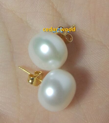 11-10 mm South Sea White Pearl Earrings 14K YELLOW GOLD natural AAA