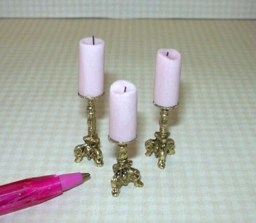 DOLLHOUSE 1:12 Miniature Brooke Tucker Set of 3 Fancy Pillar Candles PINK