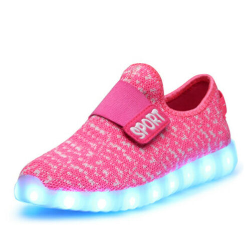 Newest Boys Girls LED Light up USB Charger Sneakers Kids USB Charge Shoes  PC725