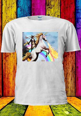 Cat And Unicorn War Crazy Rainbow T-shirt Vest Tank Top Men Women Unisex 2248