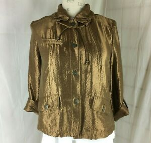 Ruby-Rd-Downtown-Field-Jacket-size-18-Metallic-Look-Antique-Gold-Bronze