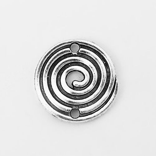20 Dark Silver Tone Spiral Swirl Connector Round Charms Pendants Jewelry Finding