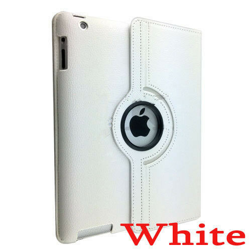 New iPad 3 IPAD 2 360 Rotating Magnetic Leather White Case Stand
