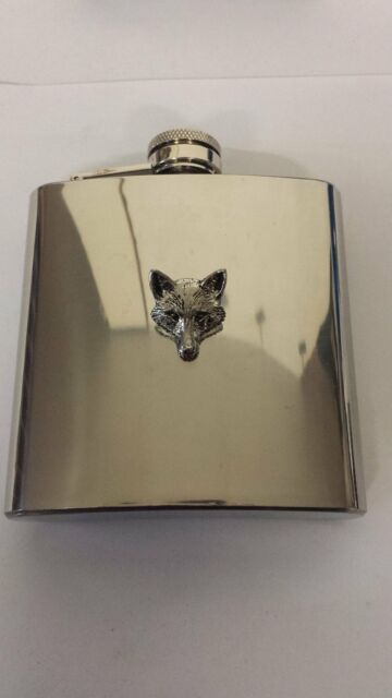 A72 Fox Head 2 english pewter 6oz Stainless Steel Hip Flask With Pewter em