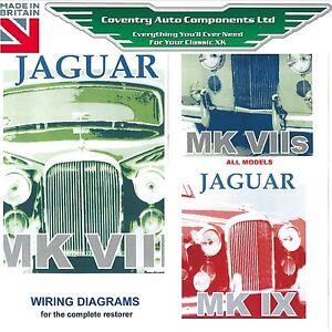 Set of 3 Jaguar MK 7 amp 8 amp 9 Exploded Wiring Diagram