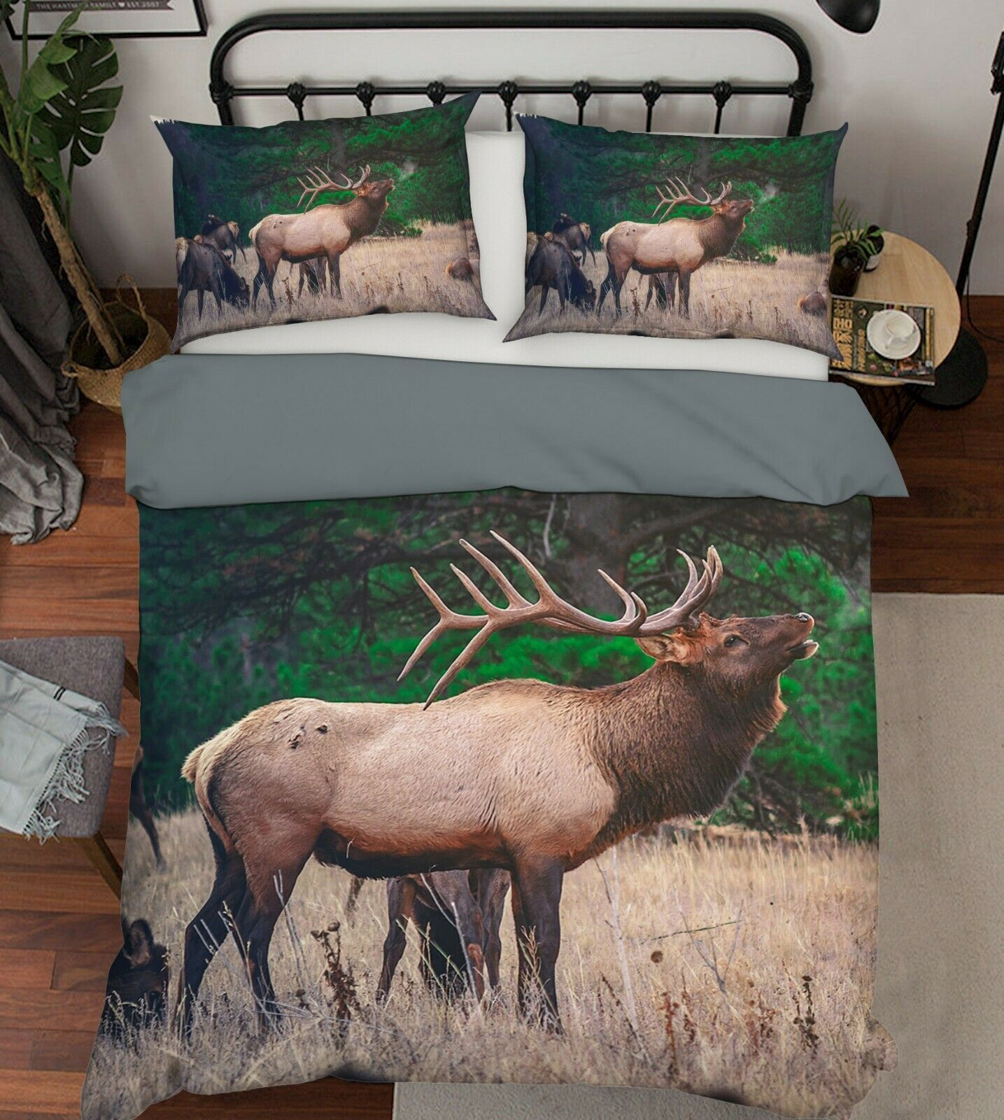 3D Beautiful Elk O39 Animal Bed Pillowcases Quilt Duvet Cover Set Queen King Amy
