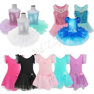 Toddler Girl Gymnastics Ballet Leotard Dress Ballerina Dancewear Unitard Costume