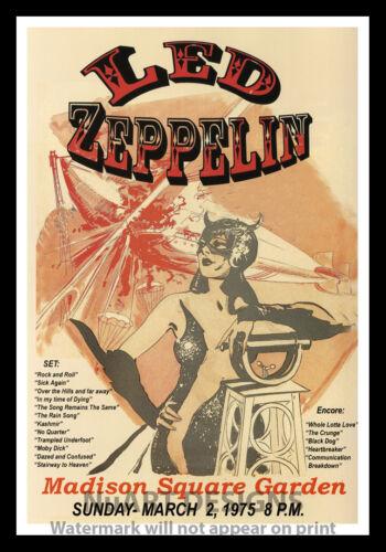 "1975/""; 12x18 Framed Vintage Style Rock n Roll Poster /""LED ZEPPLIN M.S.G."