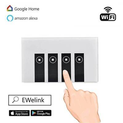 WIFI Smart Wall Light Touch Switch App Timer 4 Gang Alexa Google