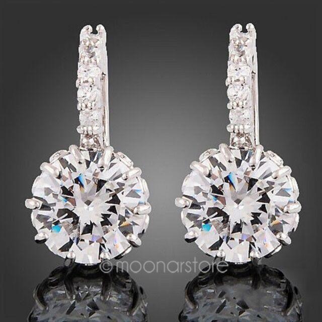 Womens 18K White Gold Filled Princess Swarovski Crystal Rhinestone Hoop Earrings