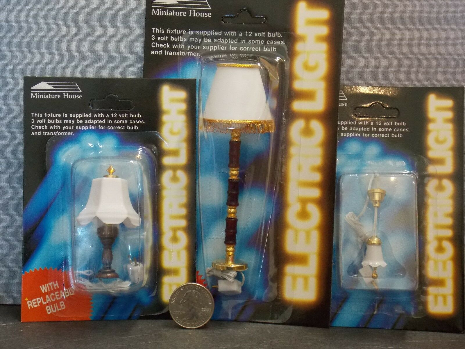 Dollhouse Miniature Electric Lights /& Lamps Set G  of 3 1:12 one inch scale  T14