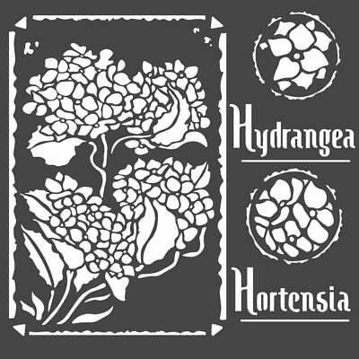 talla /única Multicolor STAMPERIA Plantilla de Stencil Frames Hortensia 18x18cm