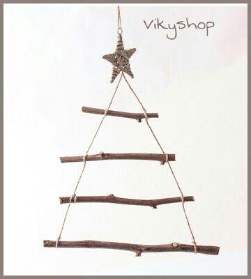 Albero Natale Legno.Albero Di Natale Legno Rami Corda Decorazione Da Appendere Shabby Stella H 54 Cm Ebay