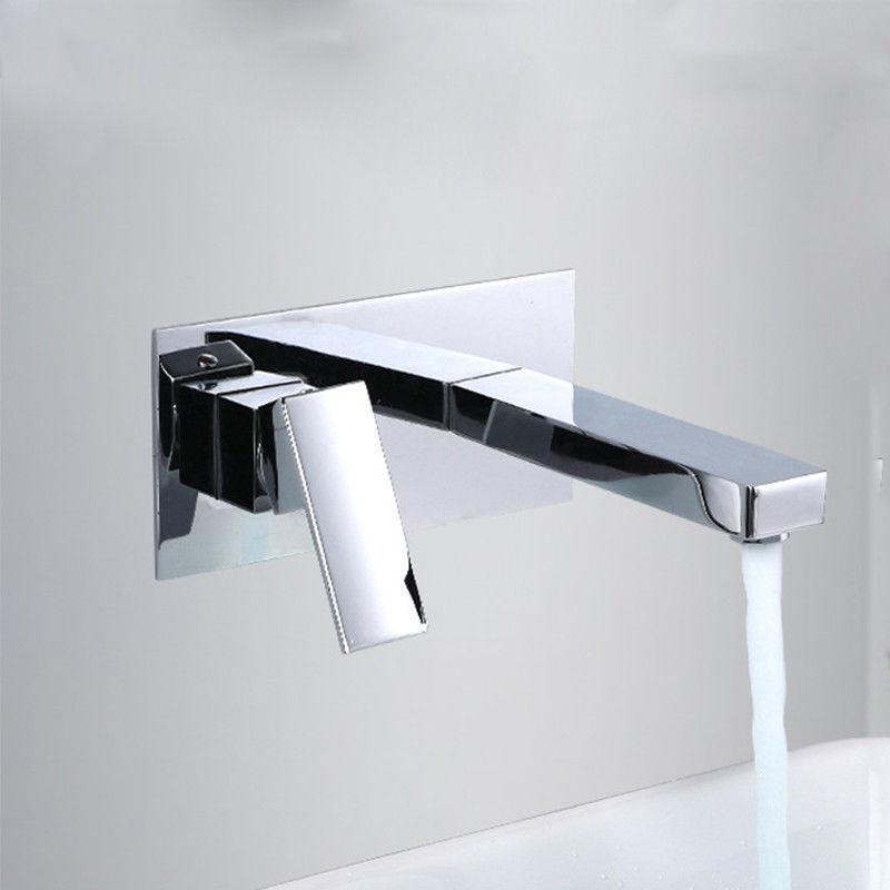 Bathroom  Basin Sink Faucet Single Handle Wall Mount Chrome Brass Tap Mixer