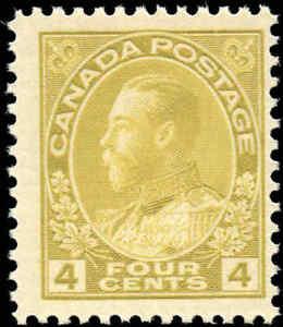Mint-NH-Canada-4c-1925-F-Scott-110d-King-George-V-Admiral-Issue-Stamp