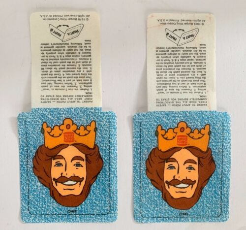 Lot of 2 Vintage Burger King 1978 King Head Iron On Patches nylon or vinyl