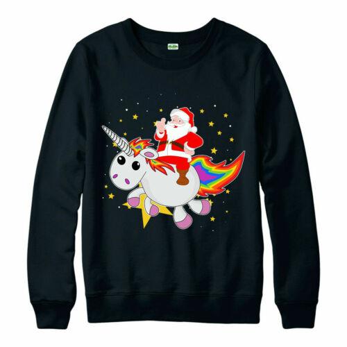 Santa Unicorn Christmas Jumper Xmas Gift Present Unicorn Kids Top