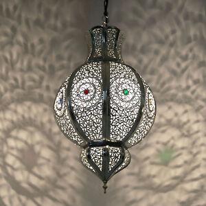 orientalische lampe marokkanische laterne h ngeleuchte malika silber handarbeit ebay. Black Bedroom Furniture Sets. Home Design Ideas