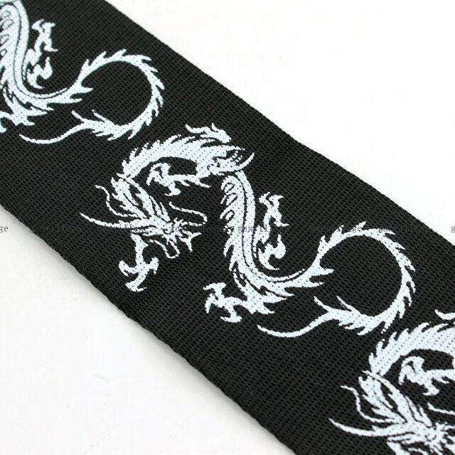 Guitar Strap For Belt Electric Acoustic Folk Bass Dragon Pattern Black Nylon NEW