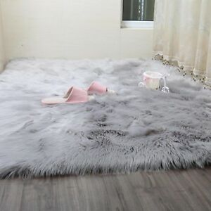Long Hair Faux Wool Fur Mat Rug Home Soft Fluffy Round