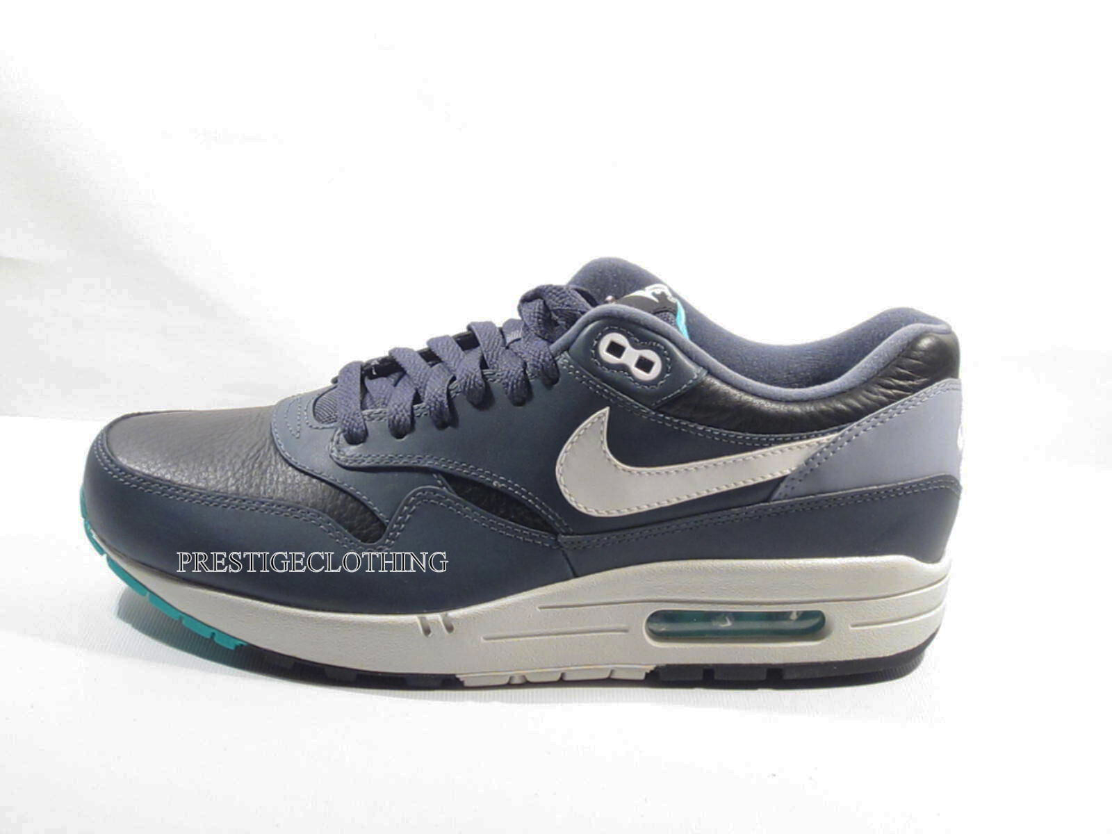 Original Nike Air Max 1 Leather Noir  Gris Whie Rare Trainers 6544666002