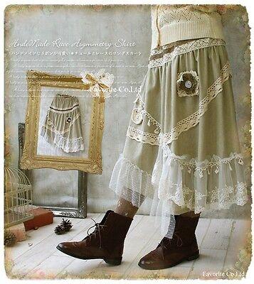 Japanese women Lolita Vintage Lace Cotton Skirt Irregular Skirts Mori Girl #NC-7