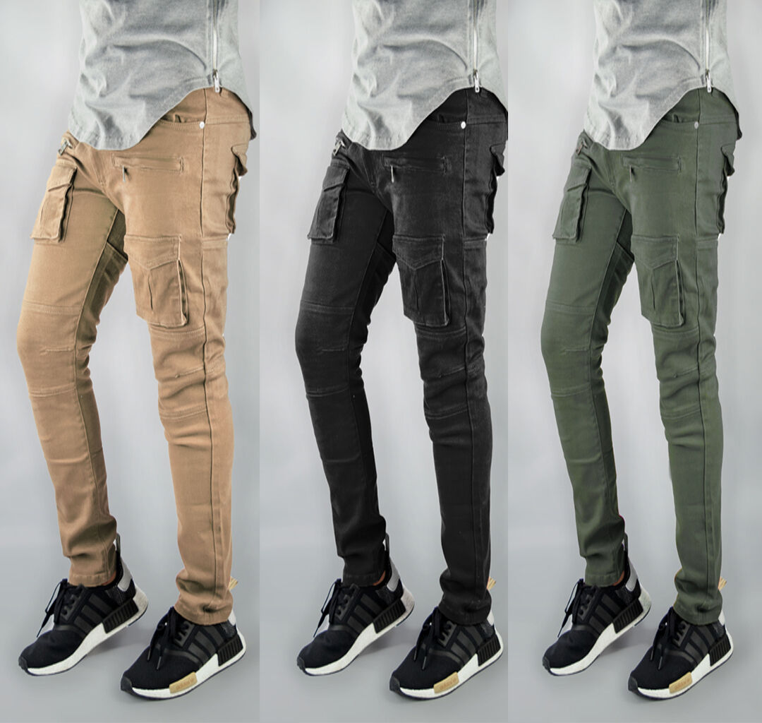 Mens twill  Destroyed Patch Olive kahki Cargo Slim Tapered Pants true sizes