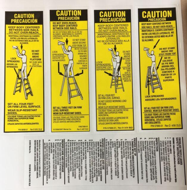 Werner Lfs100 Fiberglass Step Ladder Labels Ebay