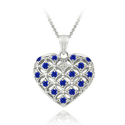 925 Silver Created Blue Sapphire & Diamond Accent Heart Locket Necklace