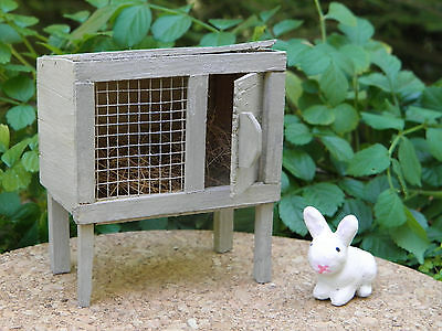 Miniature Dollhouse FAIRY GARDEN ~ Rustic Rabbit Hutch with White Bunny ~ NEW