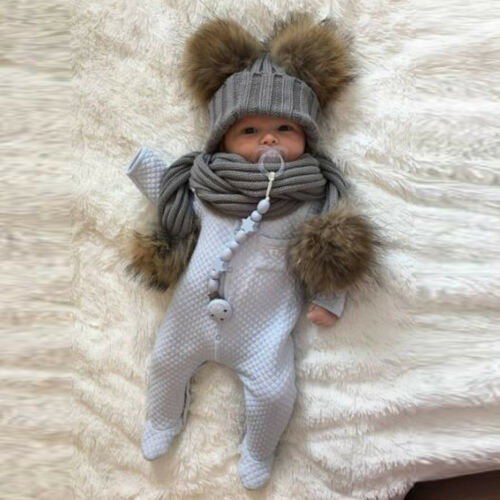 Baby Boy Girls Winter Warm Pom Bobble Beanie Ski Hat Cap+Scarf Scarves Set New