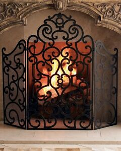 Neiman Marcus Horchow Iron FIRESCREEN Fireplace Screen Dark antique-brown finish