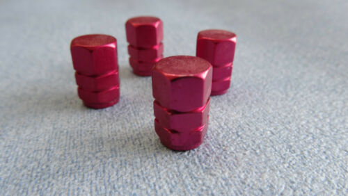 MG RED FULL METAL DUST VALVE CAPS TYRE WHEEL SOLID HEXAGON COVER
